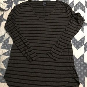 Ladies gray with black strips top.